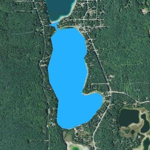 Fly fishing map for Blue Lake, Michigan