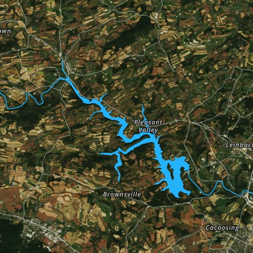 Fly fishing map for Blue Marsh Lake, Pennsylvania