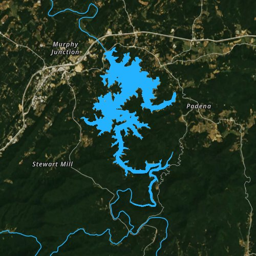 Fly fishing map for Blue Ridge Lake, Georgia