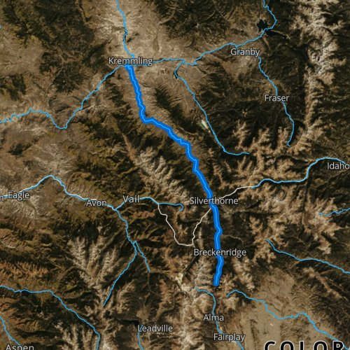 Fly fishing map for Blue River, Colorado