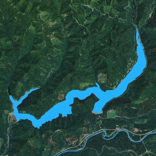 Fly fishing map for Blue River Lake, Oregon