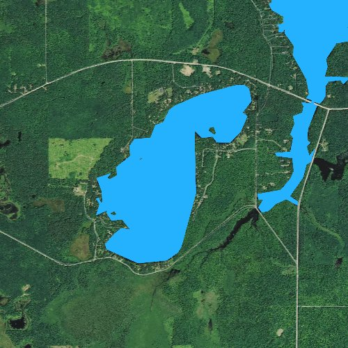 Fly fishing map for Blueberry Lake, Wisconsin