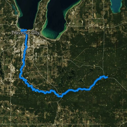 Fly fishing map for Boardman River, Michigan