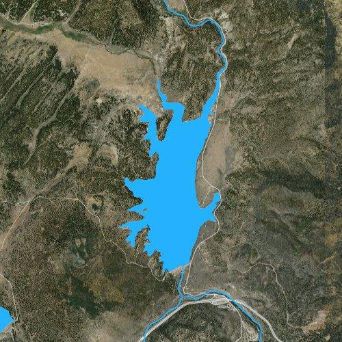 Fly fishing map for Boca Reservoir, California