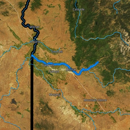 Fly fishing map for Boise River, Idaho