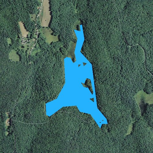 Fly fishing map for Bolster Pond, New Hampshire