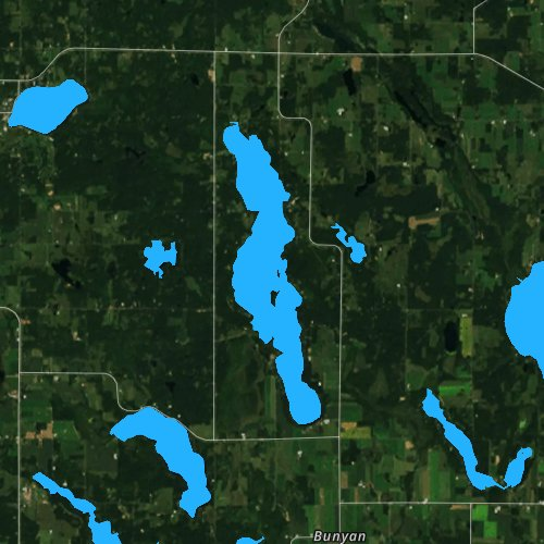 Fly fishing map for Bone Lake, Wisconsin