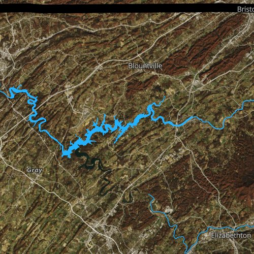 Fly fishing map for Boone Lake, Tennessee