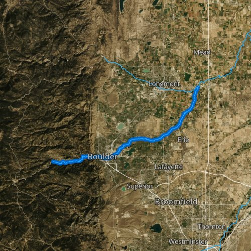 Fly fishing map for Boulder Creek, Colorado