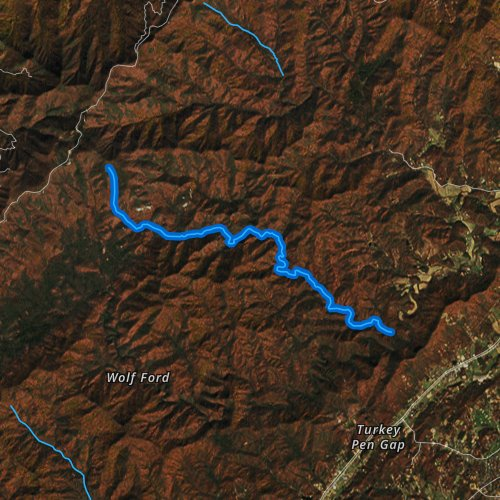 Fly fishing map for Bradley Creek, North Carolina