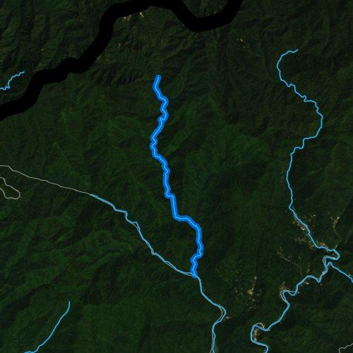 Fly fishing map for Bradley Fork, North Carolina