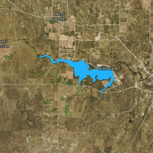 Fly fishing map for Brady Reservoir, Texas