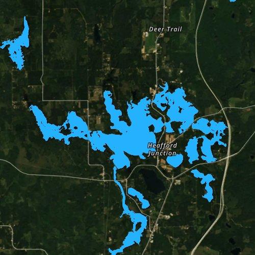 Fly fishing map for Bridge Lake, Wisconsin