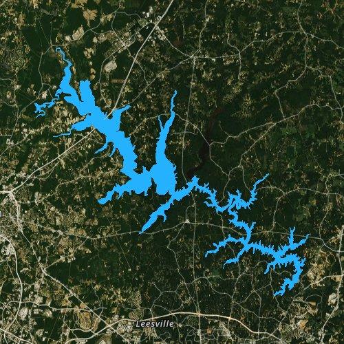 Fly fishing map for Brinkley Lake, North Carolina