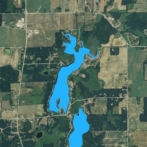 Fly fishing map for Bristol Lake, Michigan