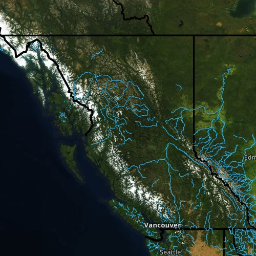 Fly fishing report and map for British Columbia.