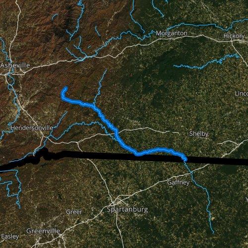 Fly fishing map for Broad River, North Carolina