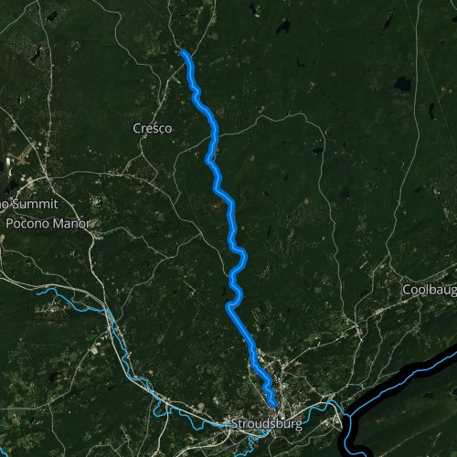 Fly fishing map for Brodhead Creek, Pennsylvania