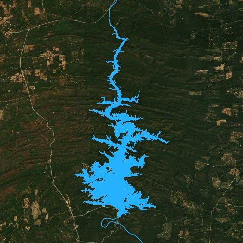 Fly fishing map for Broken Bow Lake, Oklahoma