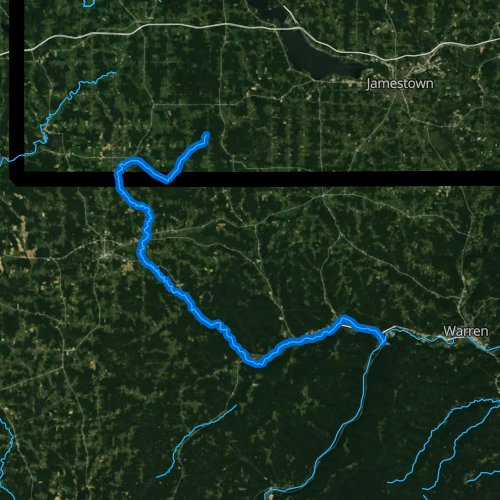 Fly fishing map for Brokenstraw Creek, Pennsylvania