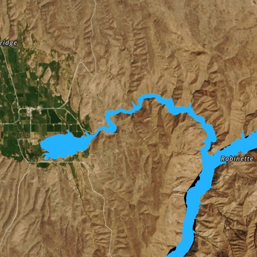 Fly fishing map for Brownlee Reservoir, Oregon