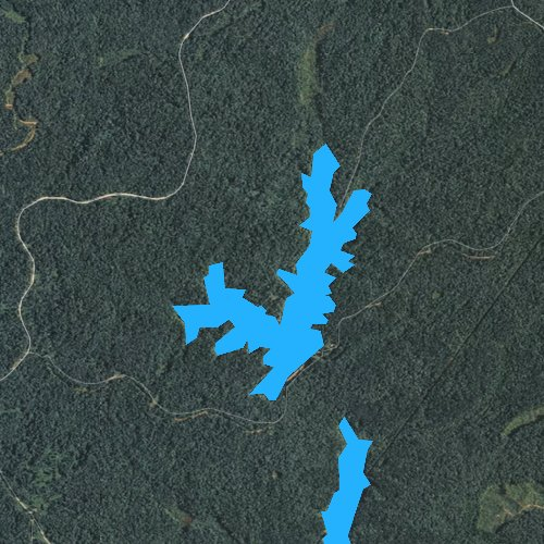 Fly fishing map for Browns Creek Lake, Tennessee