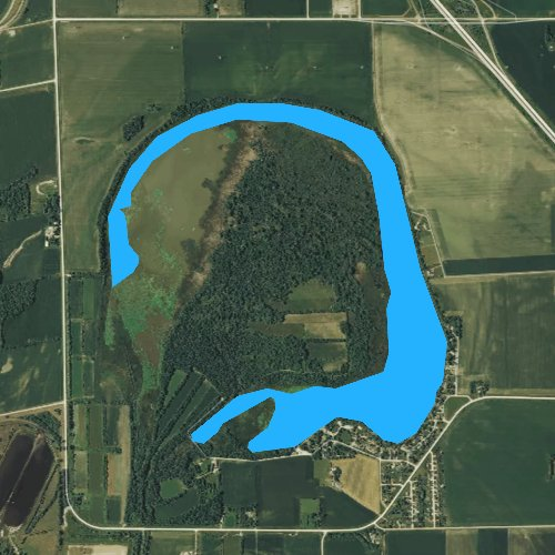 Fly fishing map for Browns Lake, Iowa