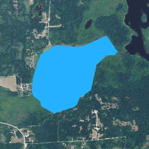 Fly fishing map for Bruin Lake, Michigan