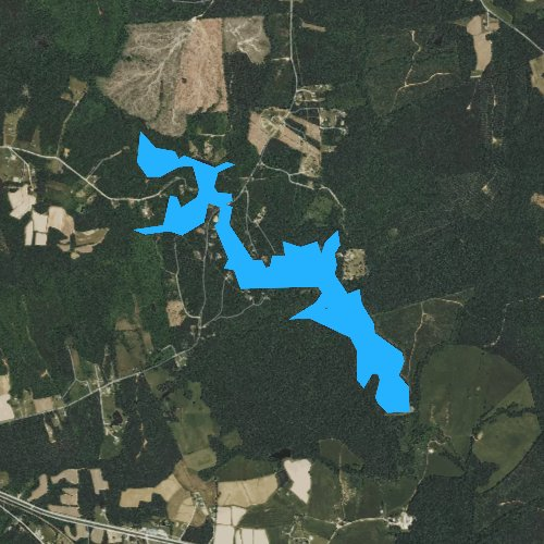 Fly fishing map for Brunswick County Pond, Virginia
