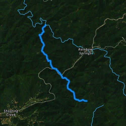 Fly fishing map for Buck Creek, North Carolina