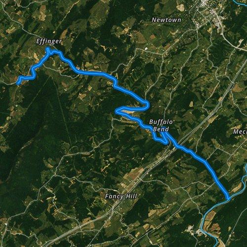 Fly fishing map for Buffalo Creek, Virginia