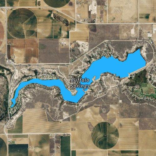 Fly fishing map for Buffalo Springs Lake, Texas