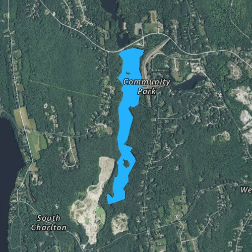 Fly fishing map for Buffumville Lake, Massachusetts