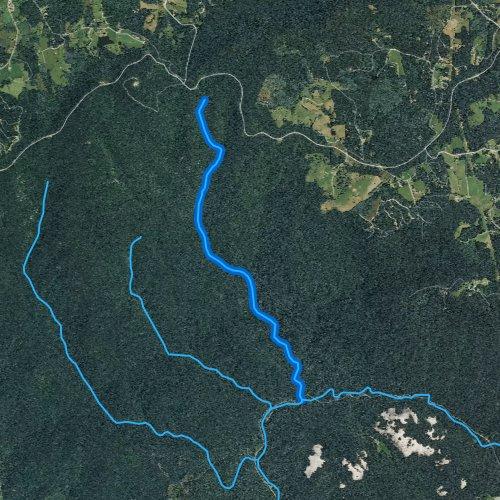 Fly fishing map for Bullhead Creek, North Carolina