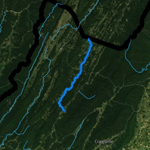 Fly fishing map for Bullpasture River, Virginia