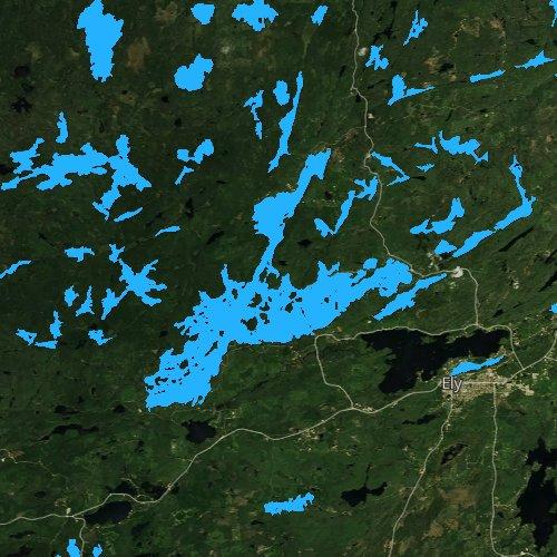 Fly fishing map for Burntside Lake, Minnesota