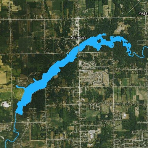 Fly fishing map for C S Mott Lake, Michigan