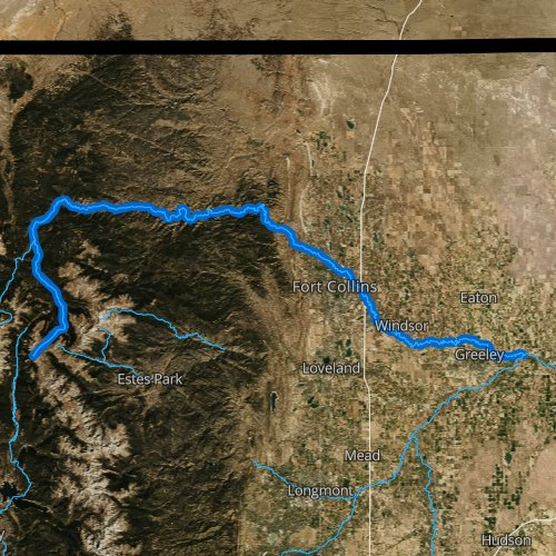 Fly fishing map for Cache la Poudre River, Colorado