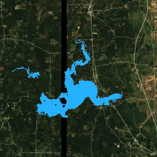 Fly fishing map for Caddo Lake, Louisiana