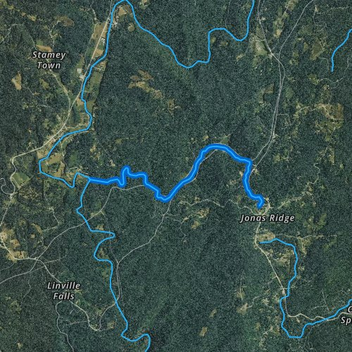 Fly fishing map for Camp Creek, North Carolina