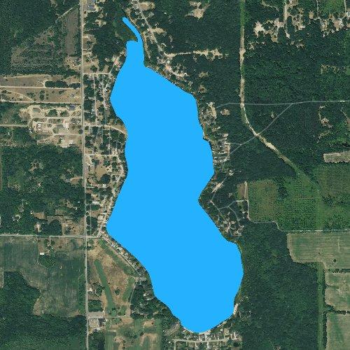 Fly fishing map for Camp Lake: Kent, Michigan