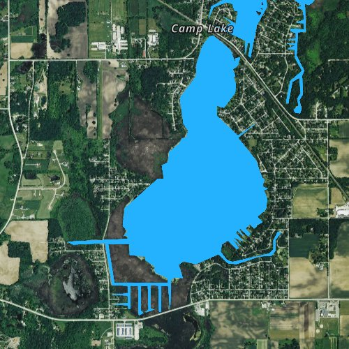 Fly fishing map for Camp Lake, Wisconsin