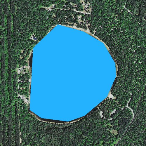 Fly fishing map for Camp Seven Lake, Michigan