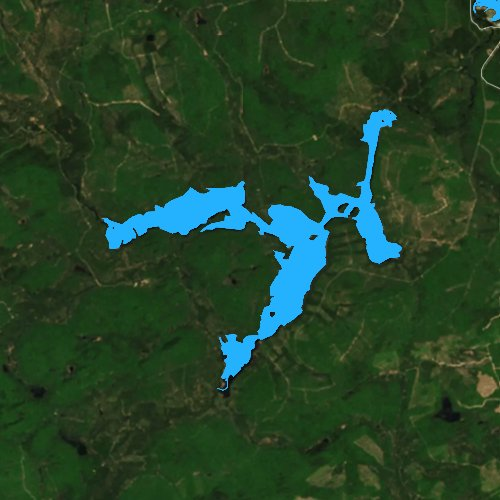 Fly fishing map for Canada Falls Lake, Maine