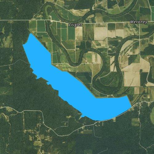 Fly fishing map for Cane Creek Lake, Arkansas
