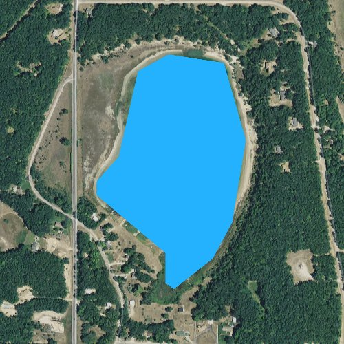Fly fishing map for Canfield Lake, Michigan