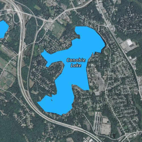 Fly fishing map for Canobie Lake, New Hampshire