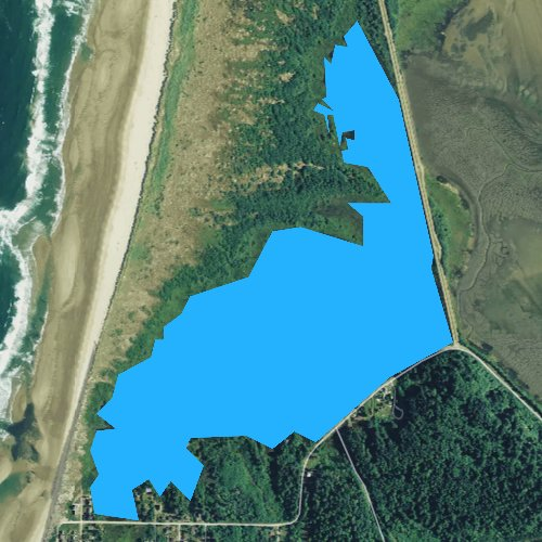 Fly fishing map for Cape Meares Lake, Oregon