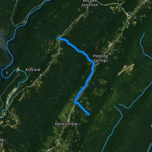 Fly fishing map for Cascades Creek, Virginia