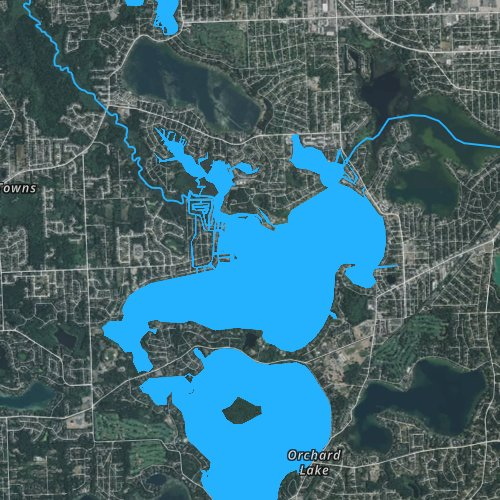 Fly fishing map for Cass Lake, Michigan